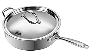 Cooks Standard 10.5-Inch/4 Quart Multi-Ply Clad Deep Saute Pan with Lid, Stainless Steel
