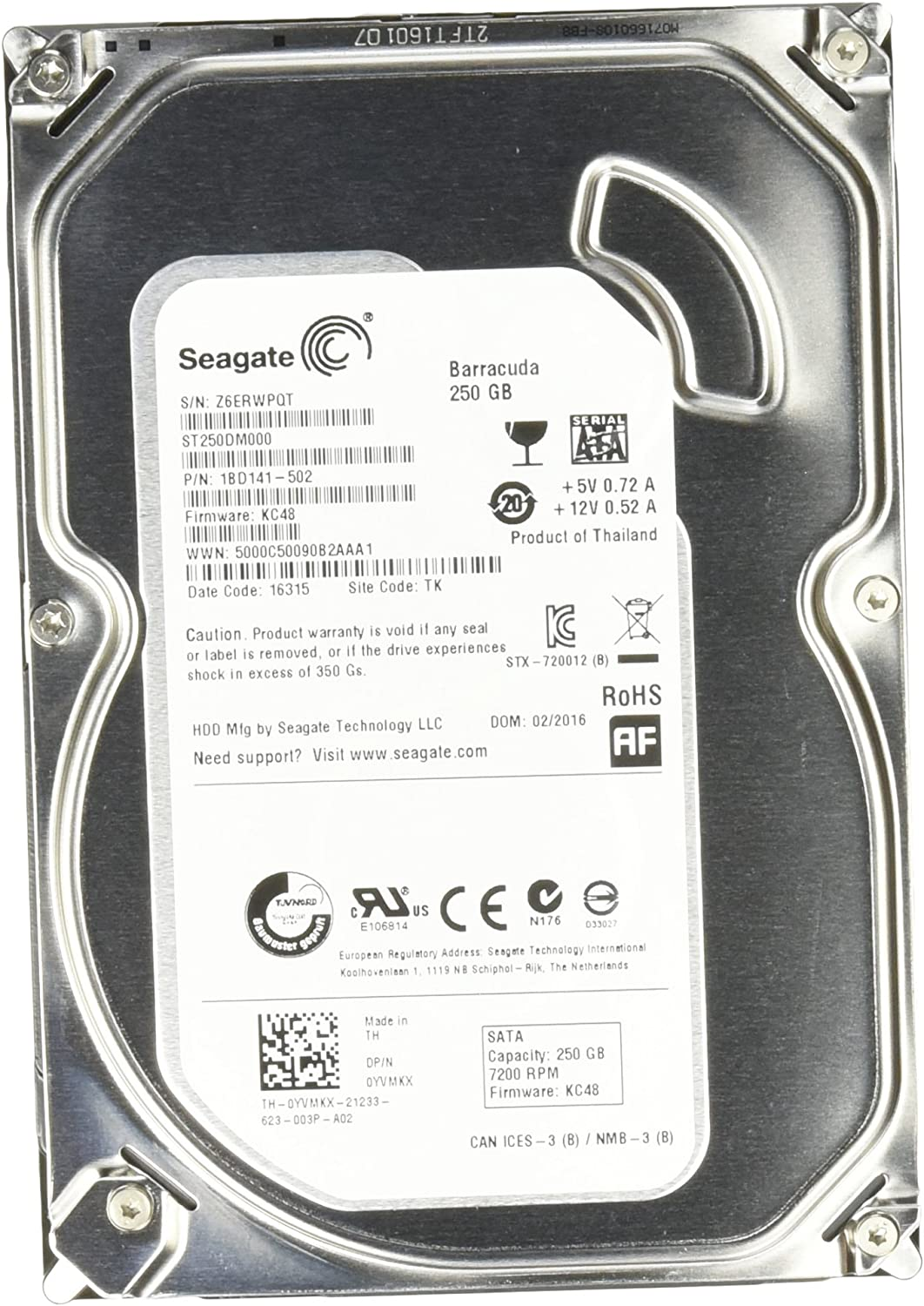 Seagate ST250DM000 - Disco Duro de 250 GB SATA, Color Gris: Amazon ...