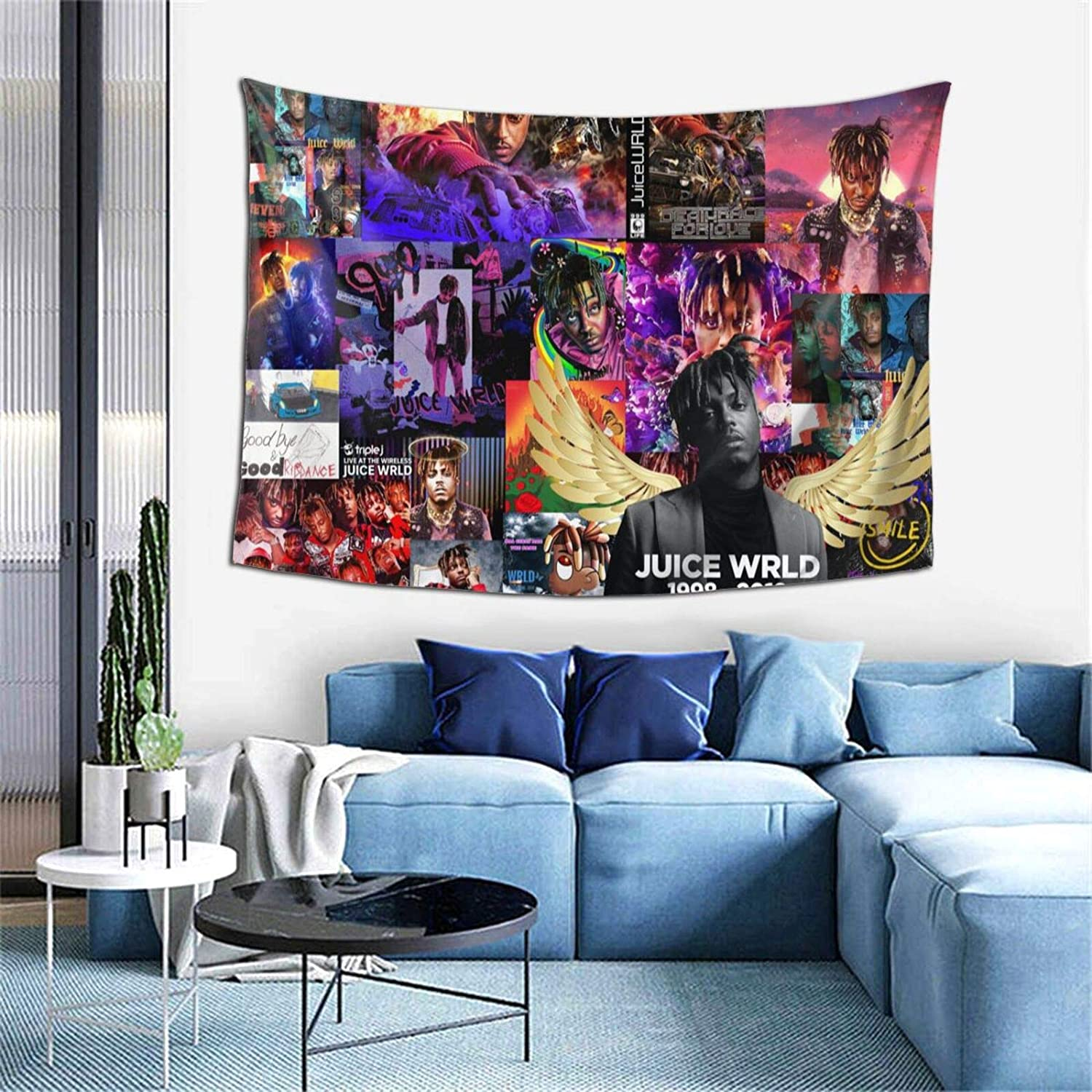 Rapper Singer Jui-ce W-rl-d Standard Handicrafts Home Decorations Tapestry Rap Style Wall Hanging Blanket, Tapestry Wall Hanging Soft Tapestries for Home Decor Picnic Mat Living Room (60x40 Inch)
