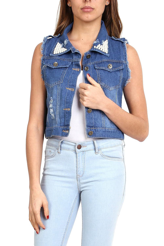 Gilet in Jeans da Donna Senza Maniche Giacca Denim Slim Corte S a XL