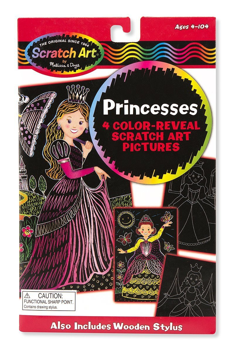 59589 Scratch Art Color-Reveal Light Catcher Pack Melissa /& Doug Princess Free Scratch Art Mini-Pad Bundle