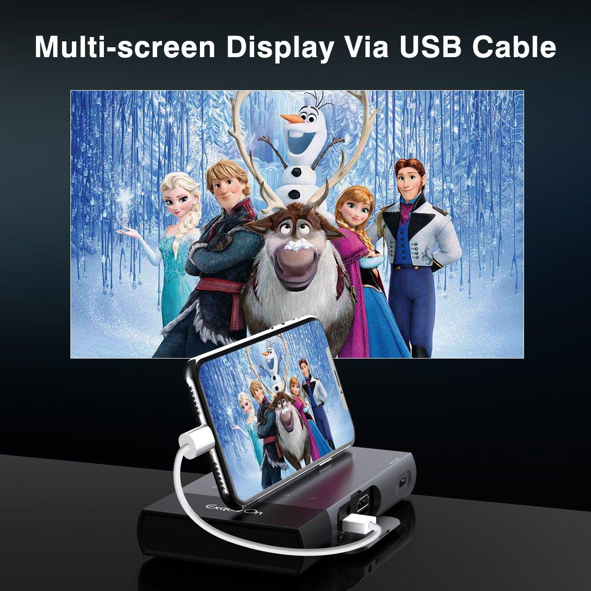 PS4 ExquizOn Vid/éoprojecteur Portable S6 Mini Projecteur WiFi DLP Soutien HD 1080p pour USB HDMI SD VGA AV Compatible avec  Fire TV Stick Laptop Smartphone X-Box One PS3