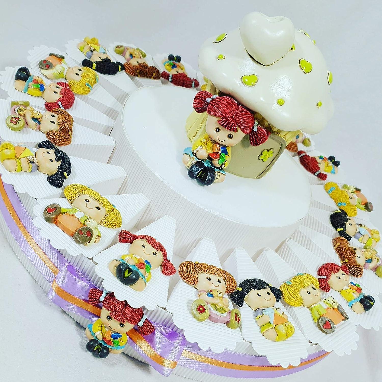 Bomboniere originali battesimo compleanno nascita torta magnete bambolina bimba assortiti SB (torta 20 fette 1PIANO aa)