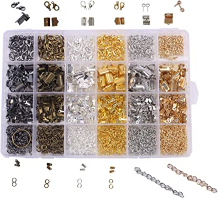 1 Box 6 Colors Jewelry Crimp End Lobster Clasps for Necklace DIY Bracelet Kits