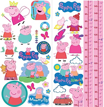 c38e62c9a6 Peppa Pig Family Wall Stickers Bedroom Art Mural Buys Girls Growth Height  Chart  Amazon.co.uk  DIY   Tools