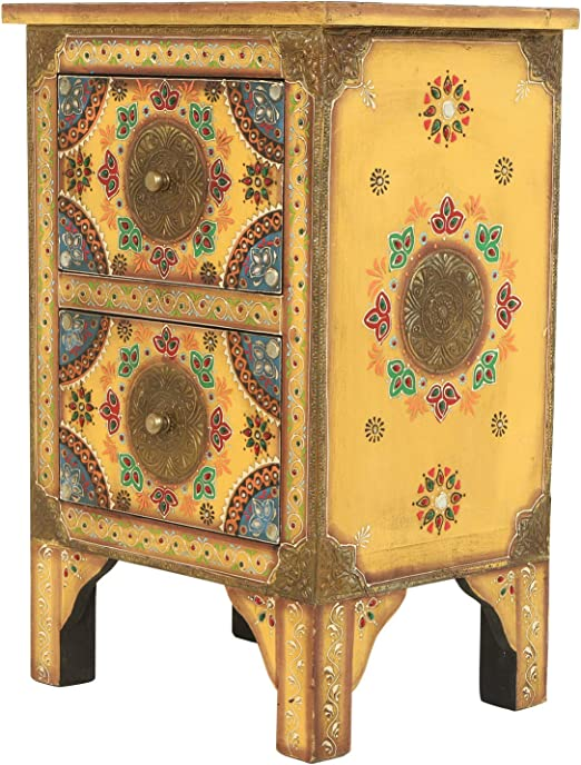 Orientalische Handbemalte Kommode Indian Style Nachttisch aus Mangoholz Balu