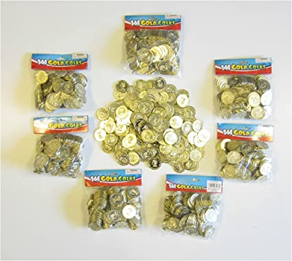 144  Plastic Pirate Gold Play Toy Coins Birthday Party Favors Pinata Money Coin