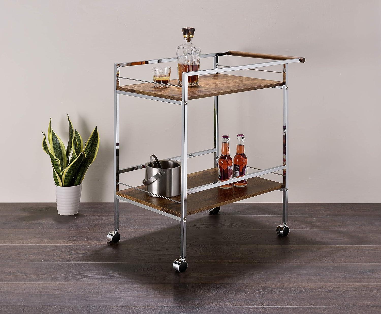 Kings Brand Furniture - Sutko Kitchen Wood & Metal Rolling Bar Kitchen Serving Cart, Chrome/Oak