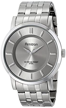 Armitron Mens 20/4962SVSV Silver-Tone Sunray Dial and Bracelet Watch