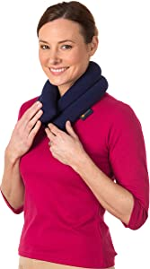 Sunny Bay Extra Long Neck Heating Wrap, Heat Therapy Pad for Sore Neck & Shoulder Muscle Pain Relief - Thermal, Reusable, Non Electric, Hot Pack Pads or Cold Compress, Navy Blue, Lavender-Scented