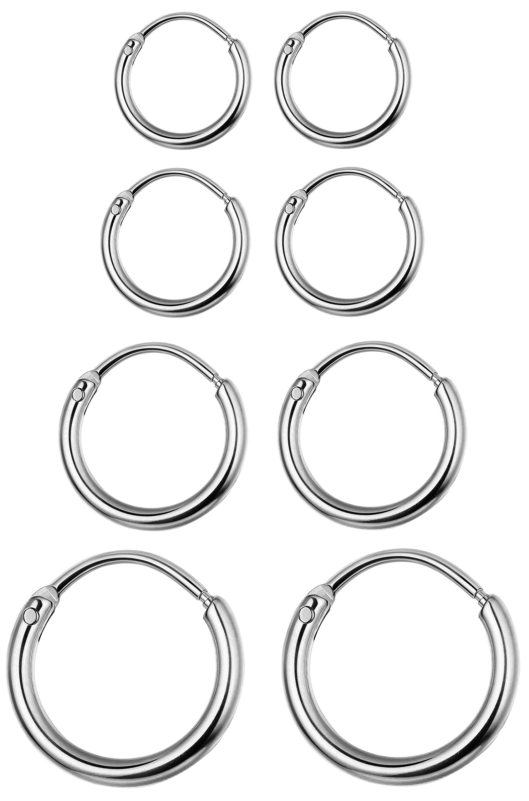 LOYALLOOK 4 Pairs Stainless Steel Basic Small Large Endless Hoop Earrings Silver Golden Rose Tone Hoop Earrings 10-20MM Silver Tone