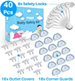 3-in-1 Baby Proofing Set (40 Pcs) - 8 Cabinet Safety Locks, 16 Corner Guards, 16 Outlet Plug Covers - Accident Proof Devices to Keep Your Child Safe at Home