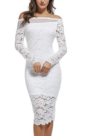 d1402b51f14d DANTTAN Women`s Off Shoulder Lace Bodycon Wedding Bridesmaid Dresses White S
