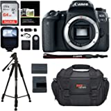 Canon EOS 77D Camera Body, Sandisk 64GB Memory Card, Polaroid Tripod, Ritz Gear SLR Camera Bag, Polaroid Flash and Accessory Bundle