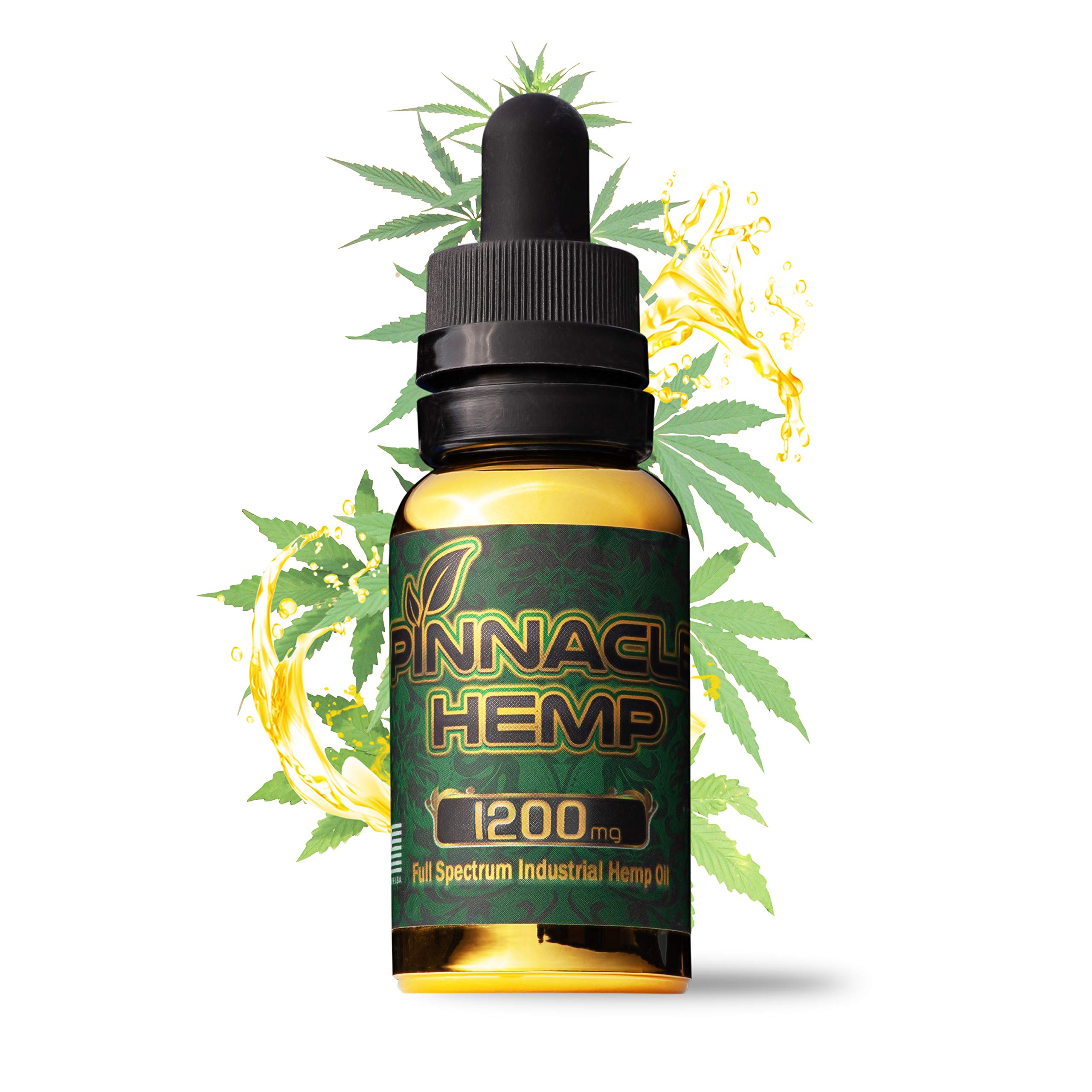 Pinnacle Hemp | #1 Hemp Oil Full Spectrum Stress Support, Anti Anxiety, Sleep Supplements Herbal Drops Natural Anti Inflammatory Drops (30ml 1200mg)