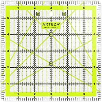 Black /& Lime Green Sewing /& Crafts 6 Wide x 6 Long for Quilting Laser Cut Acrylic Quilters Ruler with Patented Double Colored Grid Lines for Easy Precision Cutting ARTEZA Quilting Ruler