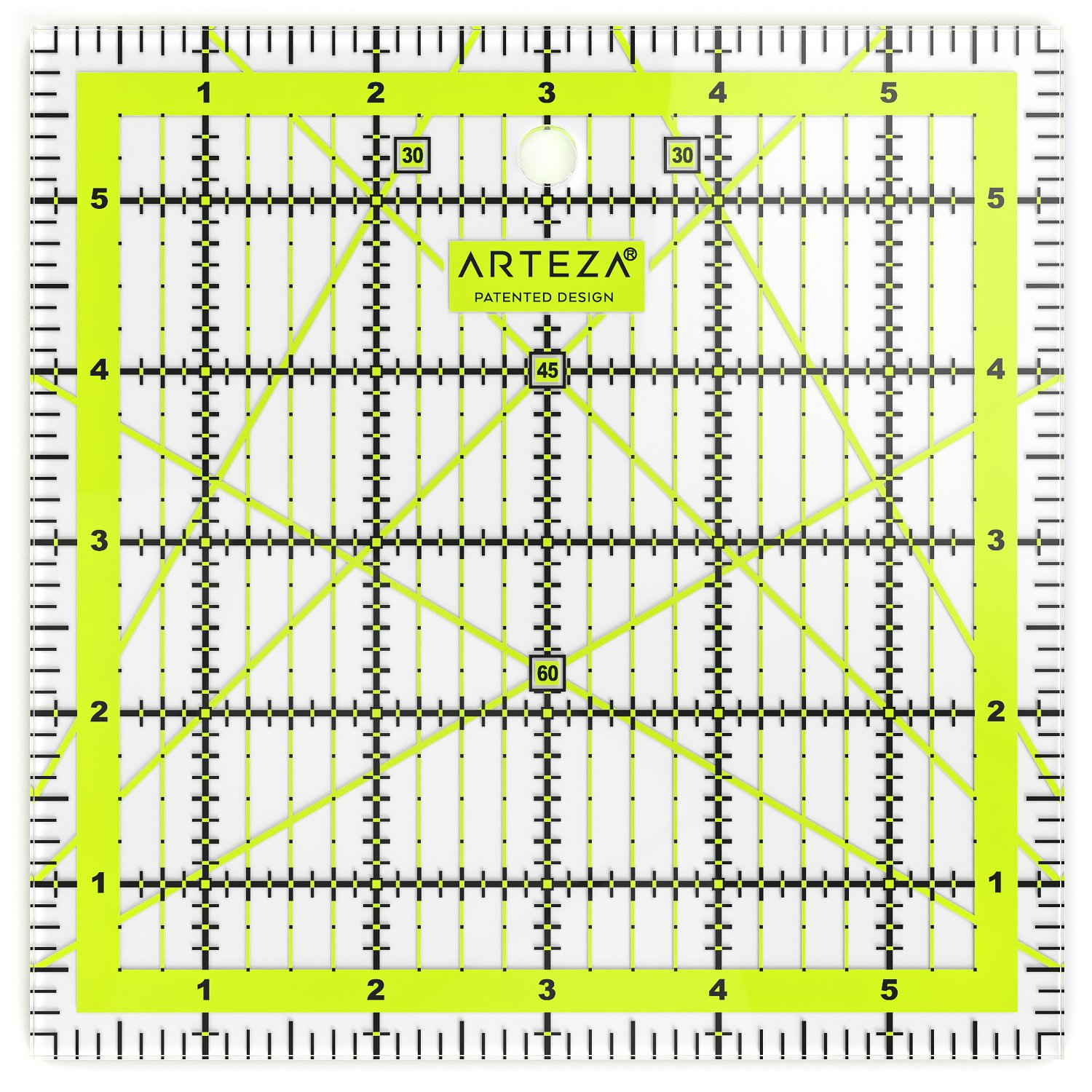 ARTEZA Quilting Ruler, Laser Cut Acrylic Quilters' Ruler with Patented Double Colored Grid Lines for Easy Precision Cutting, 6 Wide x 6 Long for Quilting, Sewing & Crafts, Black & Lime Green ARTZ-8128