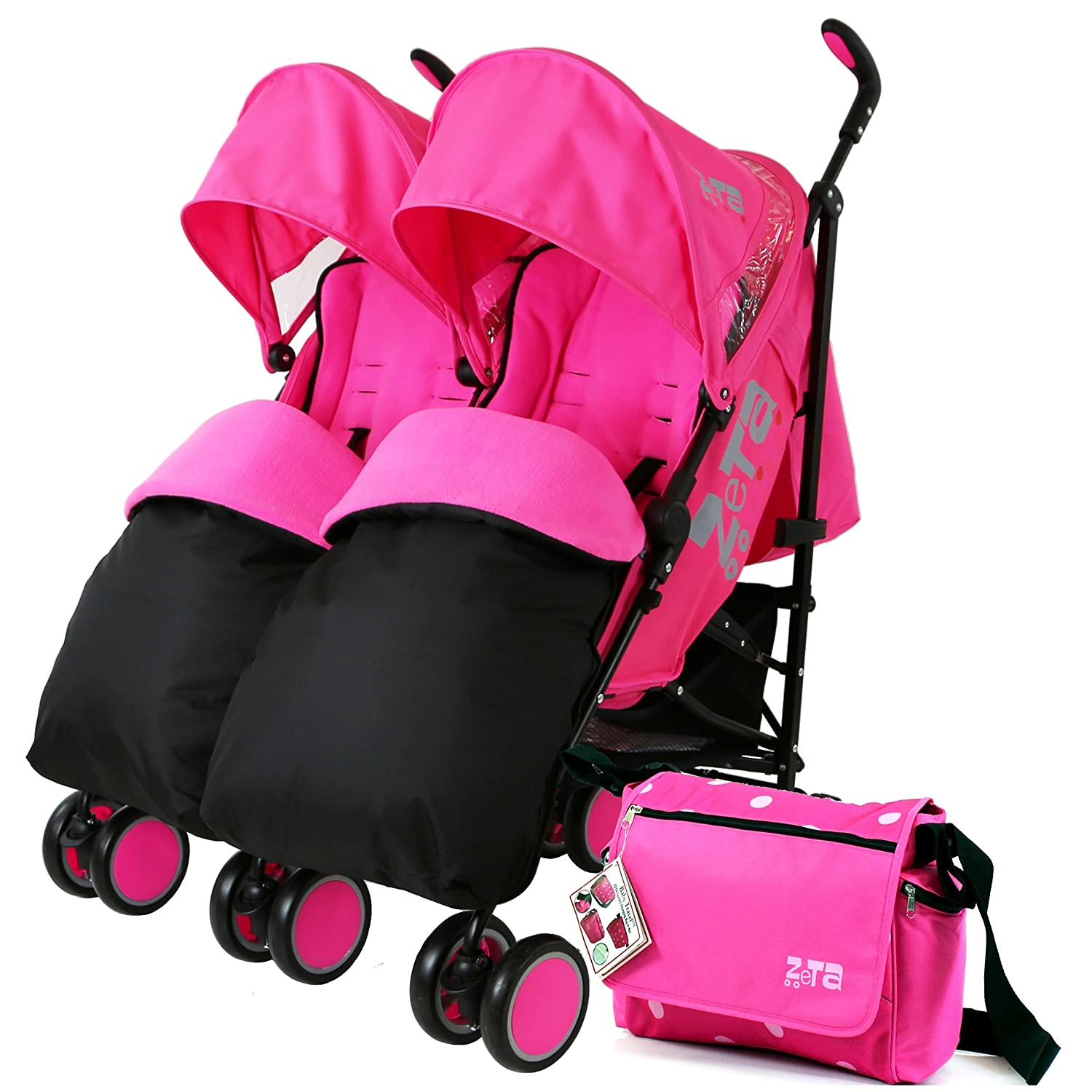 Zeta Citi TWIN Stroller Buggy Pushchair - Raspberry Pink Double Stroller Complete With FootMuffs And Bag Baby TravelTM