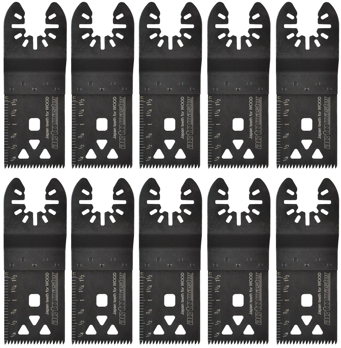ACTOMASTER Japan Teeth Precise Oscillating Saw Blade for Oscillating Tool Multitool, Pack of 10