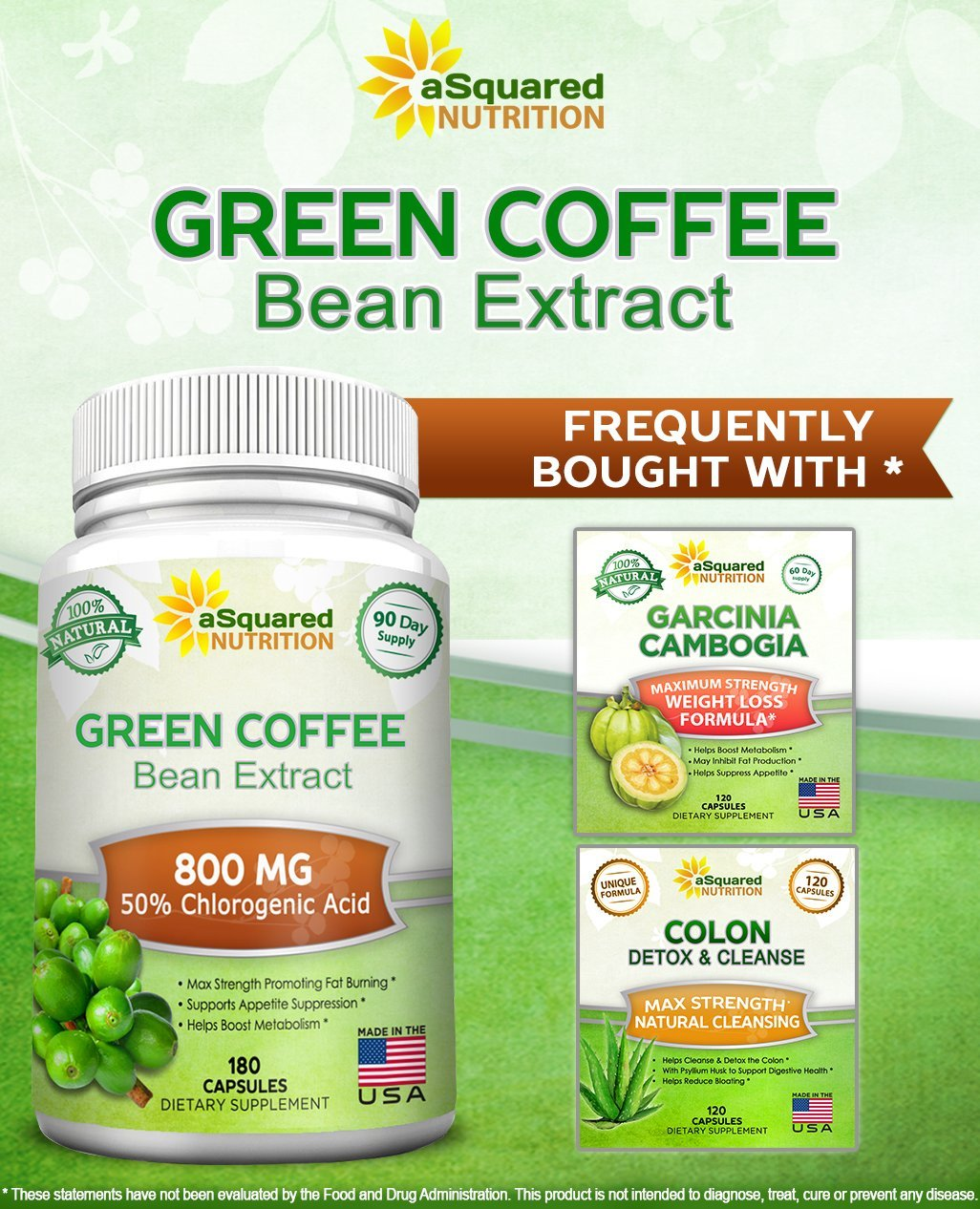100% Pure Green Coffee Bean Extract - 180 Capsules - Max Strength Natural GCA Antioxidant Cleanse for Weight Loss, 800mg w/ 50% Chlorogenic Acid per Pill, 1600mg Daily Supplement, Healthy Fat Burner by aSquared Nutrition (Image #4)