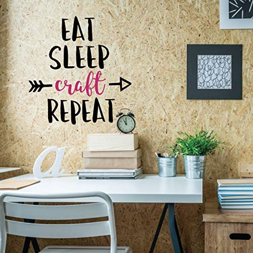 Amazon Com Funny Wall Art Eat Sleep Craft Repeat Crafter Gift