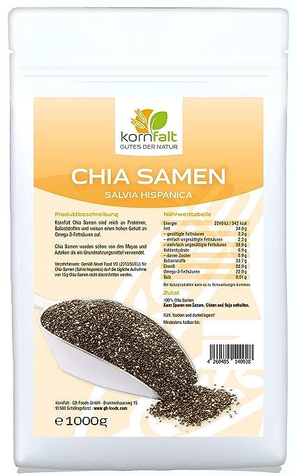 KORNFALT Semillas de Chia de Calidad Premium (1 x 1 kg)