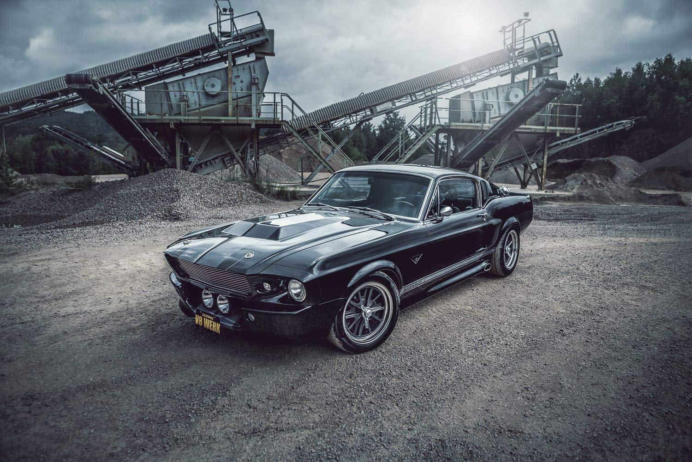 Wandbild 1967 Ford Mustang Eleanor schwarz im Steinbruch (Leinwand mit mit mit Keilrahmen, 120x80 cm) B07NPL1QRN Wandtattoos & Wandbilder 2091db