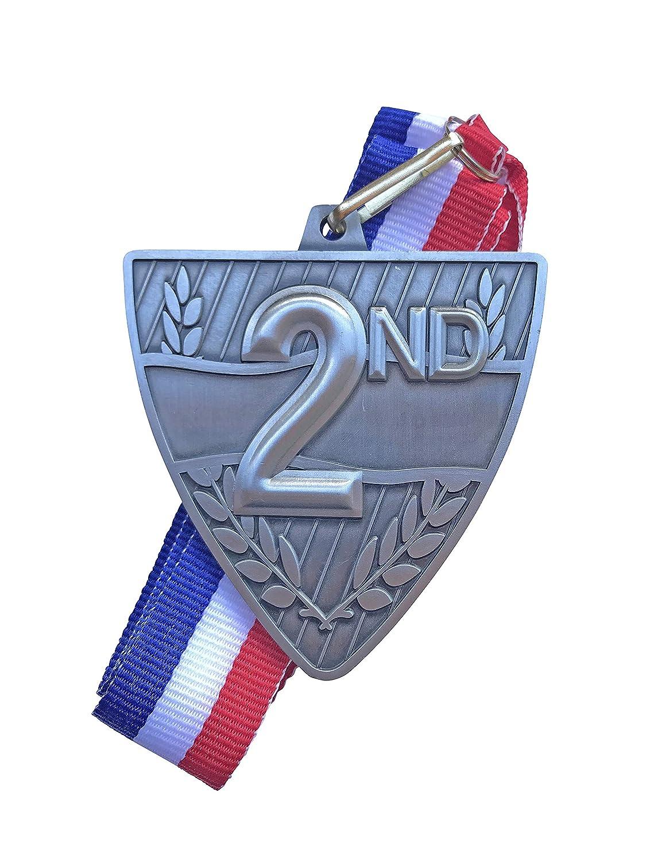 Express Medals セカンドプレイズ賞 メダル レッドとホワイトのブルーのネックリボン付き B07HW1H4HT