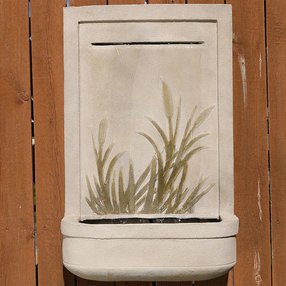 Sunnydaze 24'' Modern Cattail Solar-on-Demand Wall Fountain by Sunnydaze Decor