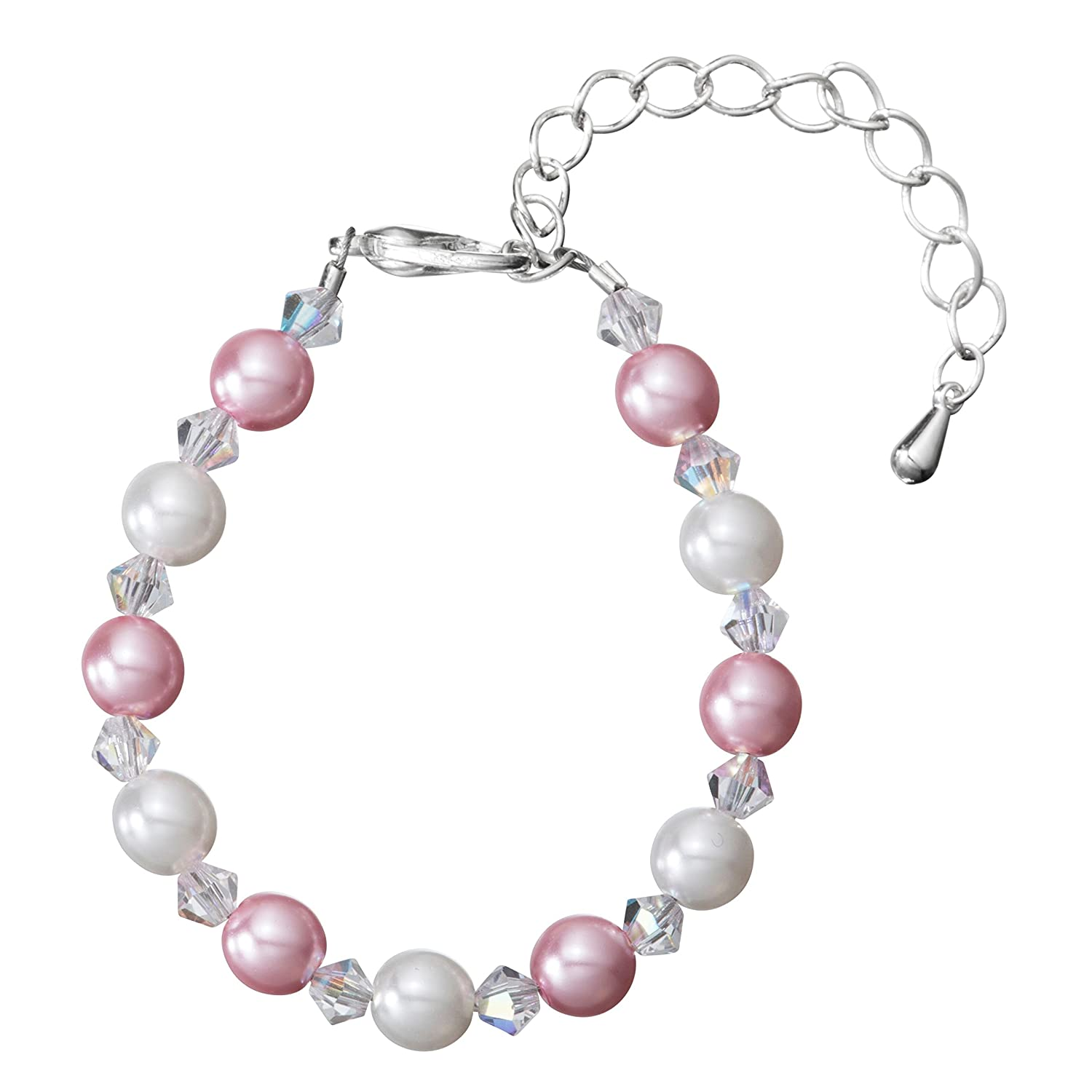 Delicate Silver Plated Pearl Bracelet for Girls - with White and Pink Glass Pearls and Crystals - Perfect for Birthday Gifts, Keepsake Gifts