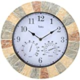 Lily's Home Hanging Wall Clock, Includes a Thermometer and Hygrometer and is Ideal for Indoor and Outdoor Use, Wonderful…