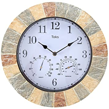 Lilyshome 14 Inch Faux Stone Indoor Or Outdoor Wall Clock With Thermometer  And Hygrometer