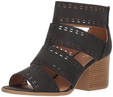 b82ed4ee88c3 Qupid Women s CORE-57 Heeled Sandal Black 7 M US