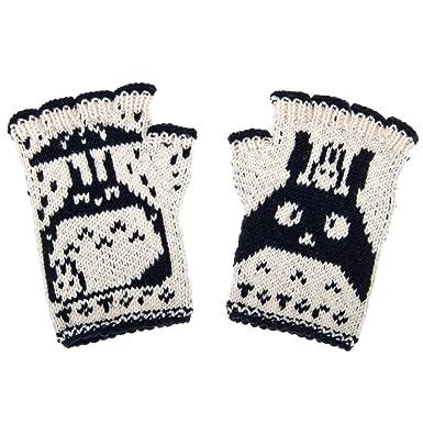 Amazon Totoro Fingerless Gloves Black White Size One Size
