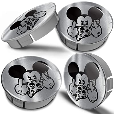 BiomarLabs 4 x 60mm 3D Universal Wheel Hub Centre Caps Mickey Mouse Middle Finger Silver Center Rims CS 6: Automotive