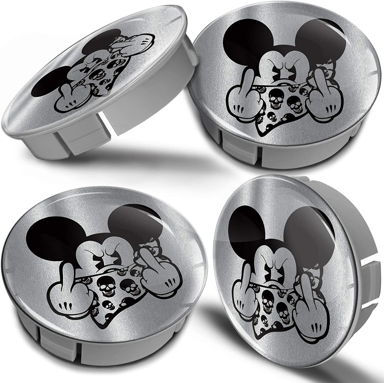 Biomar Labs/® 4 x 60mm 3D Universal Wheel Hub Centre Caps Mickey Mouse Middle Finger Silver Center Rims CS 6