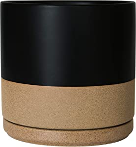 Ceramic Planter Pot with Drainage Hole and Saucer, Indoor Cylinder Round Plants Pot, 10 Inch, Matte Black/Speckled Tan