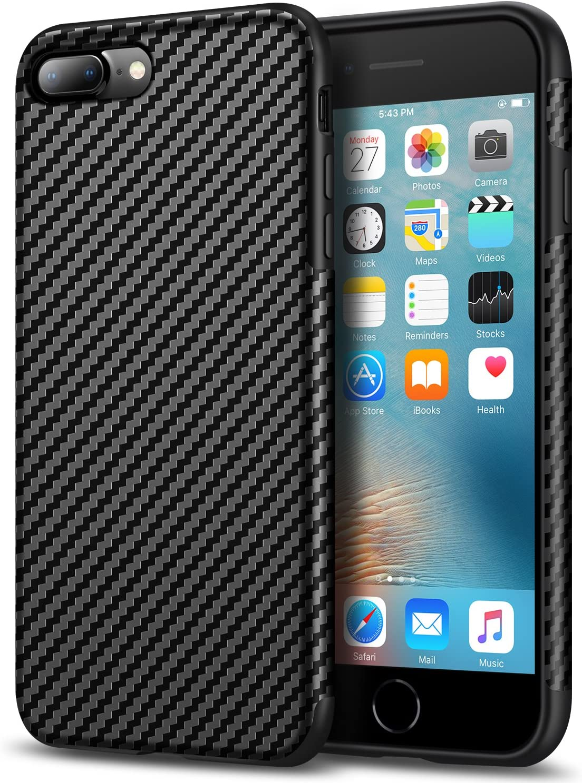 Amazon Com Tasikar Compatible With Iphone 7 Plus Case Iphone 8 Plus Case Good Grip Slim Case Carbon Fiber Leather Design For Iphone 7 Plus Iphone 8 Plus Black
