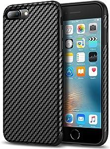Tasikar Compatible with iPhone 7 Plus Case/iPhone 8 Plus Case Good Grip Slim Case Carbon Fiber Leather Design for iPhone 7 Plus/iPhone 8 Plus (Black)