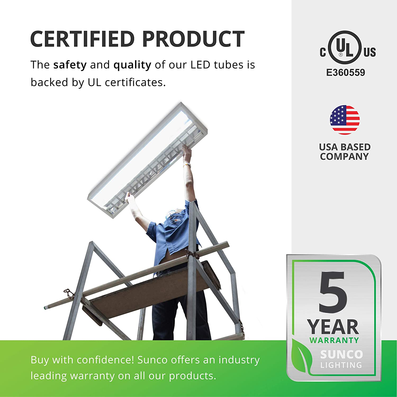 Clear Cover Single Ended Power Commercial Grade 18W=40W Fluorescent SEP 5000K Daylight Ballast Bypass UL Sunco Lighting 30 Pack 4FT T8 LED Tube
