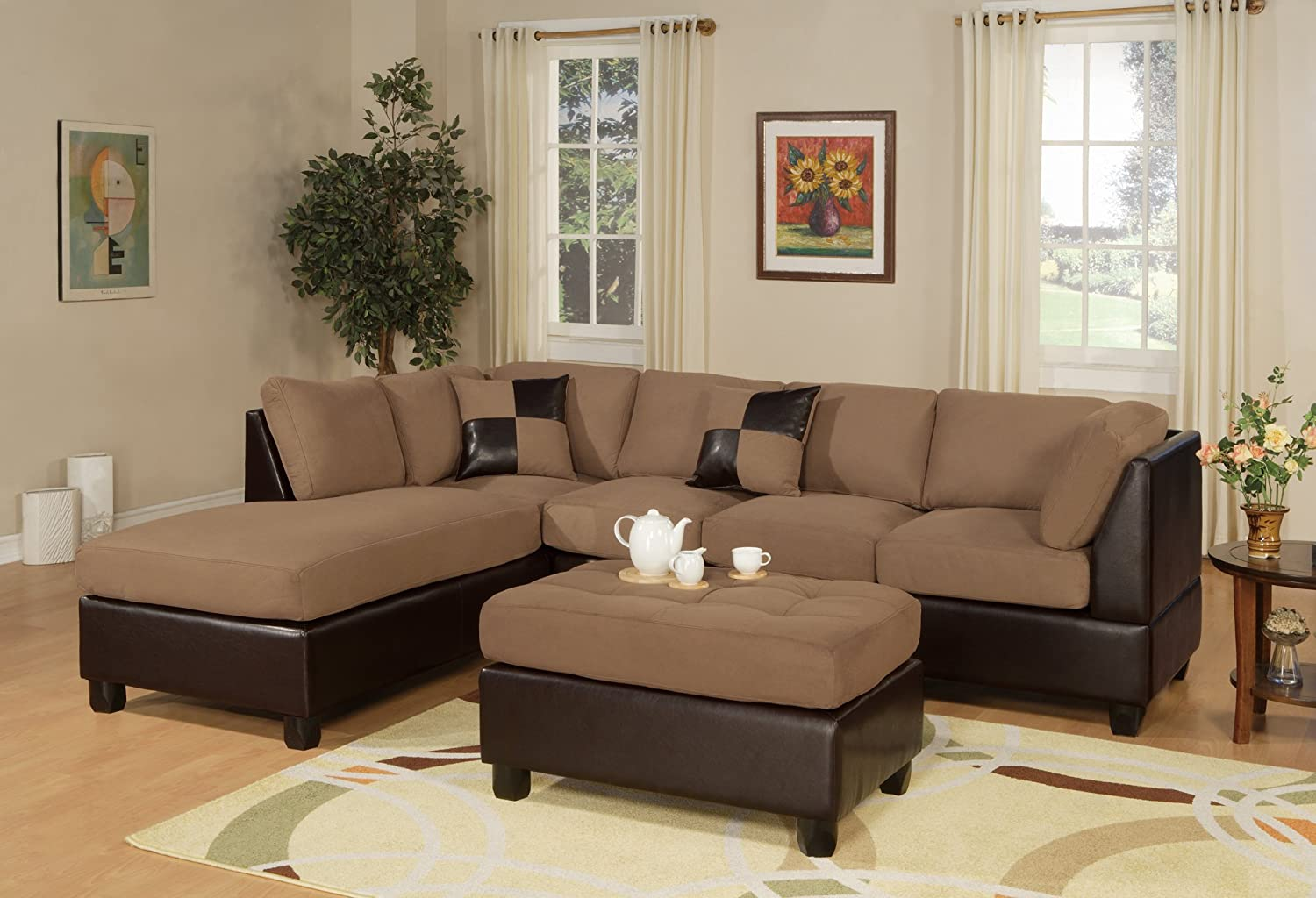 Amazon.com: Bobkona Hungtinton Microfiber/Faux Leather 3 Piece Sectional  Sofa Set, Saddle: Kitchen U0026 Dining Part 43