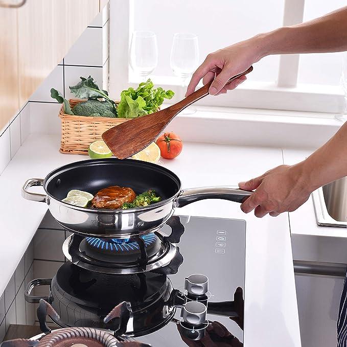 Velaze Juego de Ollas, Batería de Utensilios de Cocina de Acero Inoxidable, Cacerolas Antiadherentes de Cocina(10 Piezas)