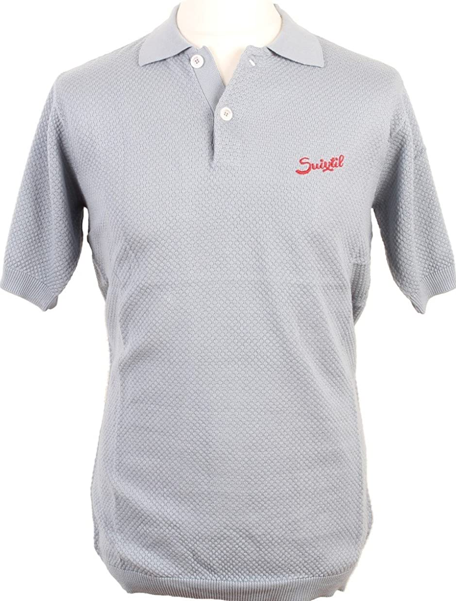 Suixtil Men's 100% Pima Cotton Nassau Short Sleeve Polo Light Blue