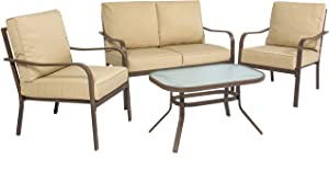 Best Choice Products 4-Piece Cushioned Metal Conversation Set with 2 Chairs and Glass Top Coffee Table, Beige