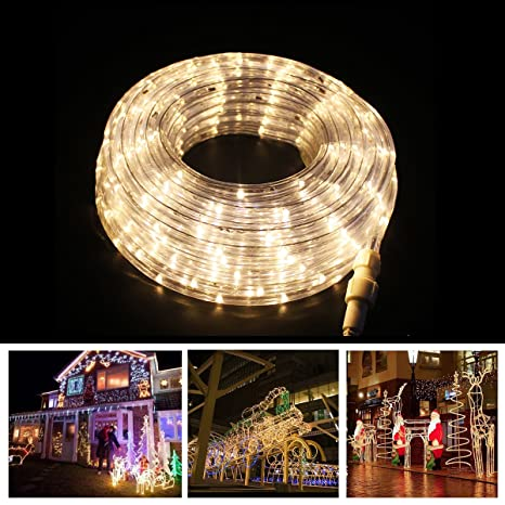 rope lights christmas decoration light 8 modes 40ft 300leds warm white landscape lighting dancing