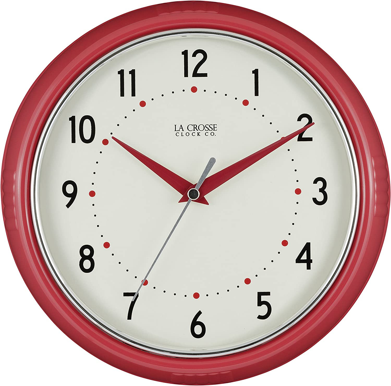 La Crosse Technology 404-2624R La Crosse 9.5 Inch Round Red Retro Diner Analog Wall Clock