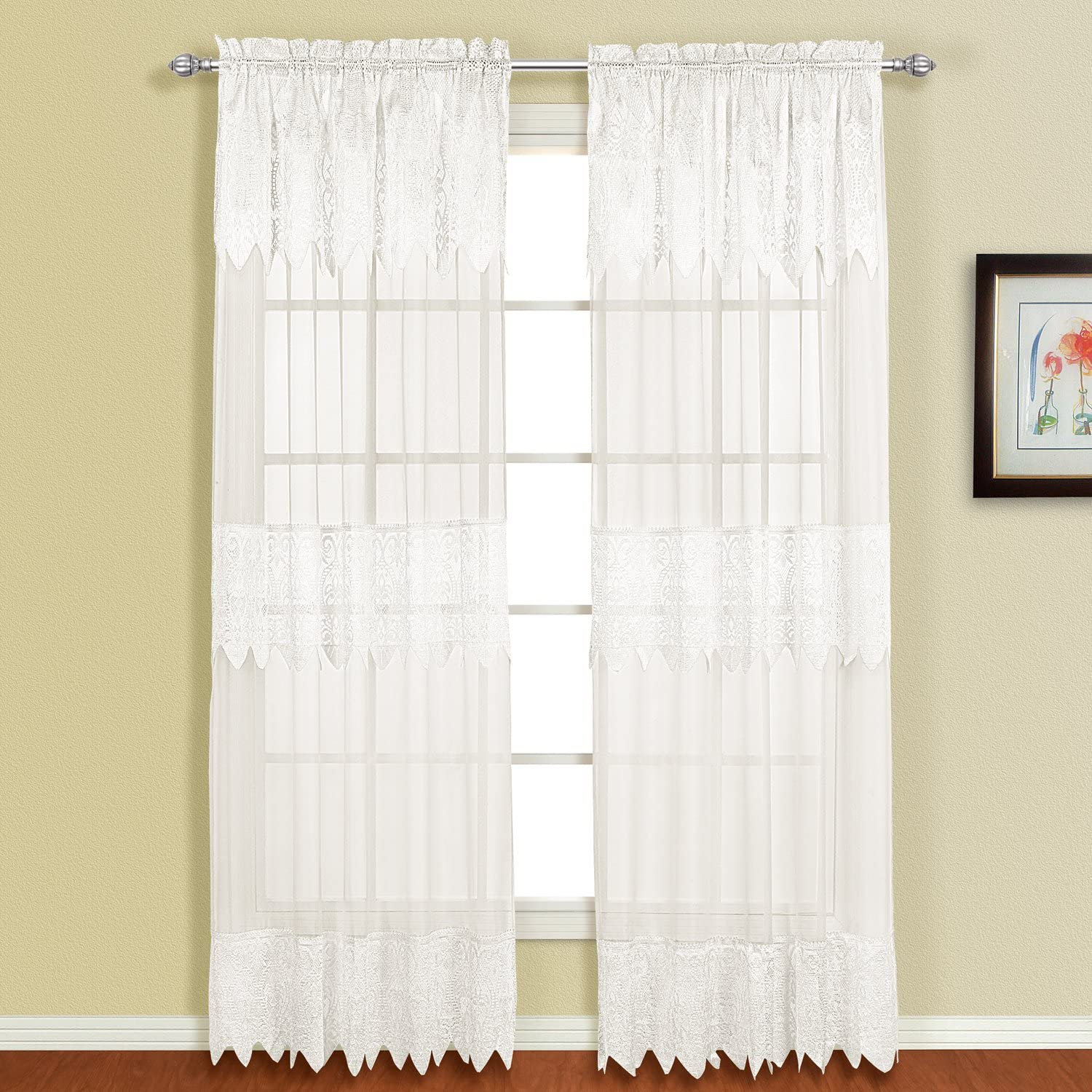 American Curtain and Home Patricia Window Curtain, 52-Inch by 84-Inch, White