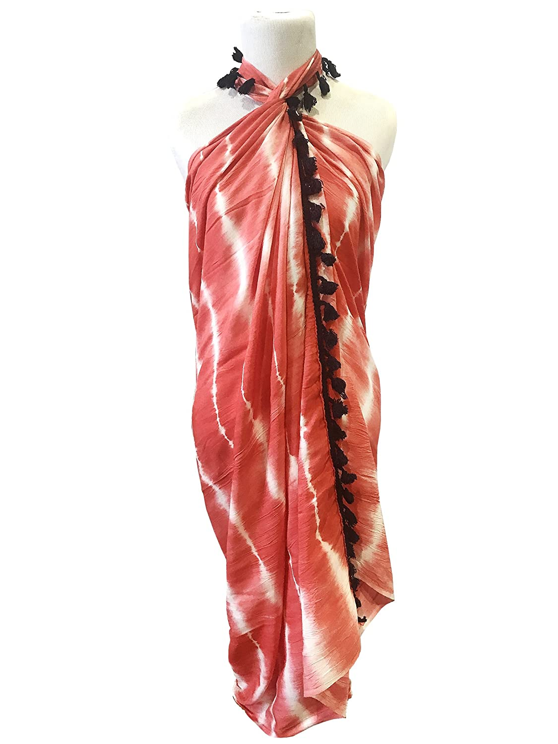 33e015dacf701 Chilly Jilly Sarongs Womens Tie-Dye Swimsuit Wrap Pareo Bikini Cover up  with Tassels - Coral at Amazon Women's Clothing store: