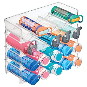 mDesign Plastic Free-Standing Water Bottle and Wine Rack Storage Organizer for Kitchen Countertops, Table Top, Pantry, Fridge - Stackable - Holds 5 Bottles Each, 4 Pack - Clear