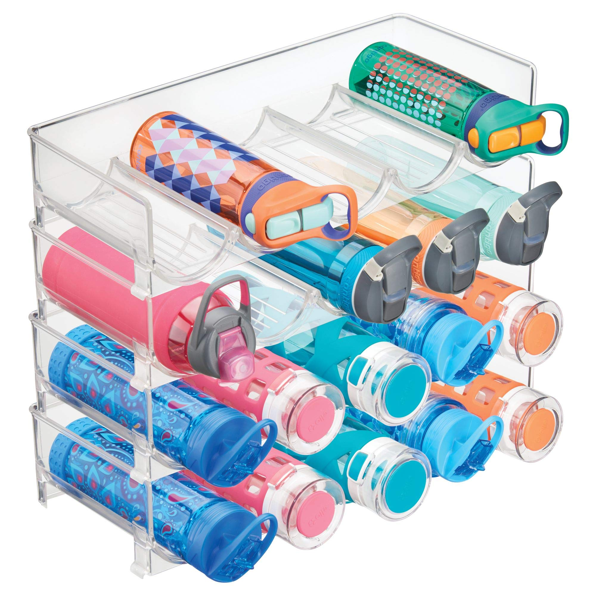 mDesign Plastic Free-Standing Water Bottle and Wine Rack Storage Organizer for Kitchen Countertops, Table Top, Pantry, Fridge - Stackable, Each Rack Holds 5 Bottles - Pack of 4, Clear